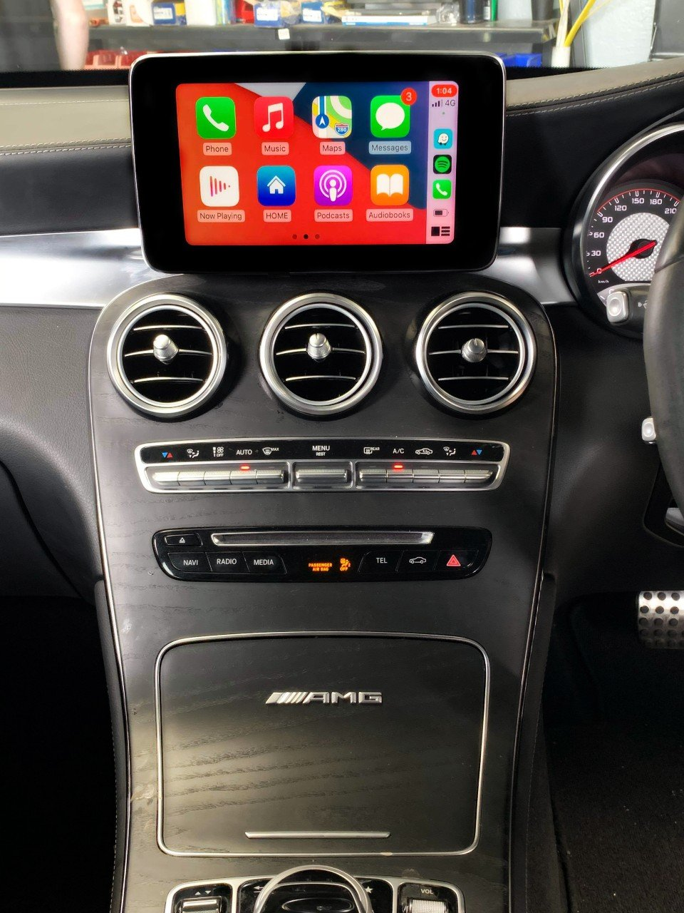 Mercedes Benz – Apple CarPlay + Android Auto Integration - https://www.newcastleprosound.com.au/wp-content/uploads/2021/02/AMGCARPLAY.jpg