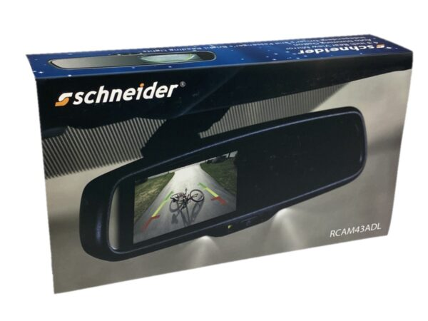 """SCHNEIDER RCAM43ADL 4.3"""" REPLACEMENT REAR VIEW MIRROR & REVERSE CAMERA KIT WITH READING LIGHTS & AUTO DIMMING OPTION -"""